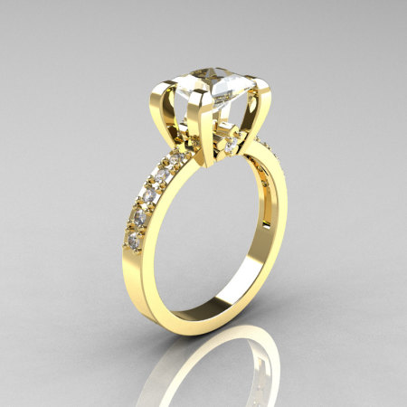 Classic French 18K Yellow Gold 1.0 Carat Princess Cubic Zirconia Diamond Solitaire Ring AR125-18YGDCZ-1