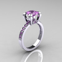 Classic French 14K White Gold 1.0 Carat Princess Lilac Amethyst Engagement and Weding Ring Bridal Set AR125S-14WGLAA-2