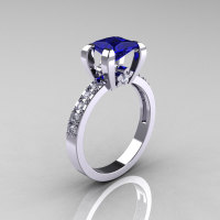 Classic 14K White Gold 1.0 Carat Princess Blue Sapphire Diamond Solitaire Engagement Ring AR125-14WGDBS-1