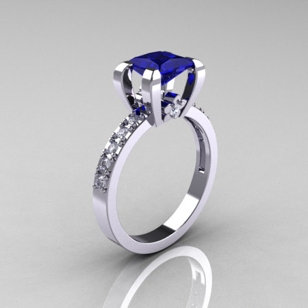 Classic 14K White Gold 1.0 Carat Princess Blue Sapphire Diamond Solitaire Engagement Ring AR125-14WGDBS-1