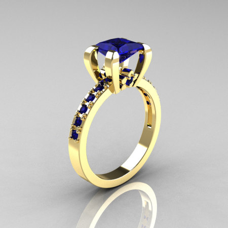 Classic 14K Yellow Gold 1.0 Carat Princess Blue Sapphire Solitaire Engagement Ring AR125-14YGBS-1