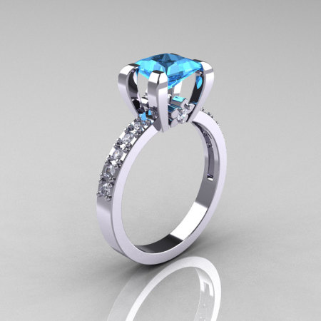 Classic 10K White Gold 1.0 Carat Princess Blue Topaz Diamond Solitaire Engagement Ring AR125-10WGDBT-1