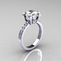 Classic French 14K White Gold 1.0 Carat Princess Cubic Zirconia Diamond Solitaire Ring AR125-14WGDCZ-1