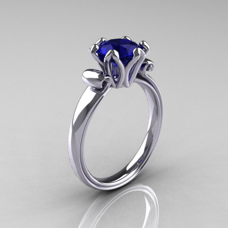 Modern Antique 14K White Gold 1.5 Carat Blue Sapphire Solitaire Engagement Ring AR127-14WGBS-1