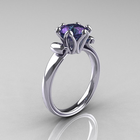 Modern Antique 950 Platinum 1.5 Carat Alexandrite Solitaire Engagement Ring AR127-PLATAL-1