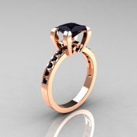 Classic French 14K Pink Gold 1.0 Carat Princess Black Diamond Solitaire Engagement Ring AR125-14PGBDD-1