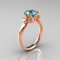 Modern Antique 14K Rose Gold 1.5 Carat Aquamarine Solitaire Engagement Ring AR127-14RGAQ-1