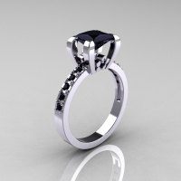 Classic French 14K White Gold 1.0 Carat Princess Black Diamond Engagement Ring AR125-14KWGBDD-1