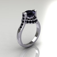 Italian Bridal 10K White Gold 1.5 Carat Black Diamond Wedding Ring AR119-10WGBLL-1