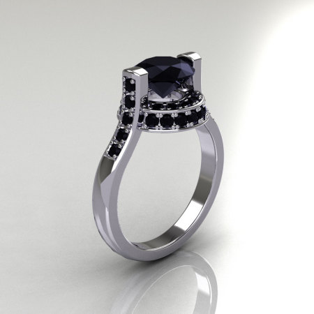 Italian Bridal 10K White Gold 1.5 Carat Black Diamond Wedding Ring AR119-10WGBLL-1