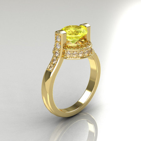Italian Bridal 14K Yellow Gold 1.5 Carat Yellow Sapphire Diamond Wedding Ring AR119-14YGDYS-1