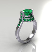 Italian Bridal 10K White Gold 1.5 Carat Emerald Wedding Ring AR119-10WGEMM-1