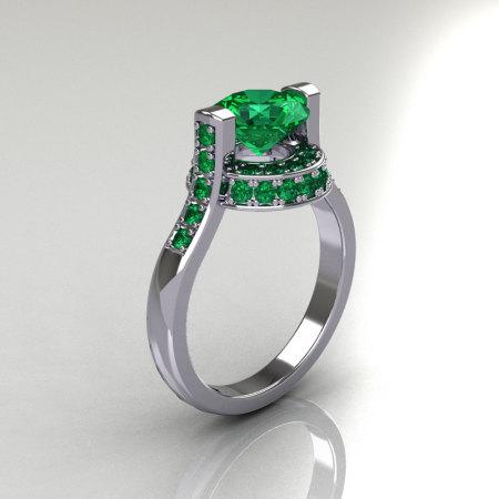 Italian Bridal 10K White Gold 1.5 Carat Emerald Wedding Ring AR119-10WGEMM-1