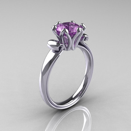 Modern Antique 10K White Gold 1.5 Carat Lilac Amethyst Solitaire Engagement Ring AR127-10WGLAM-1
