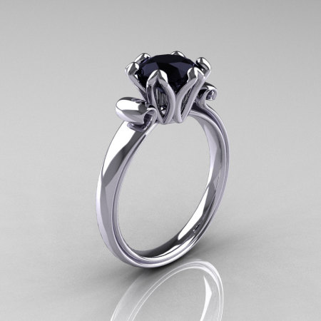 Modern Antique 14K White Gold 1.5 Carat Black Onyx Solitaire Engagement Ring AR127-14WGBO-1