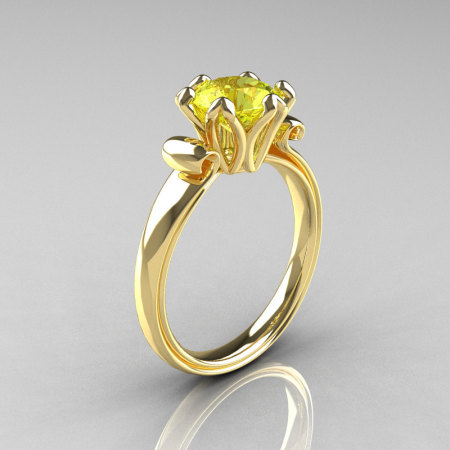 Modern Antique 14K Yellow Gold 1.5 Carat Yellow Topaz Solitaire Engagement Ring AR127-14YGYT-1