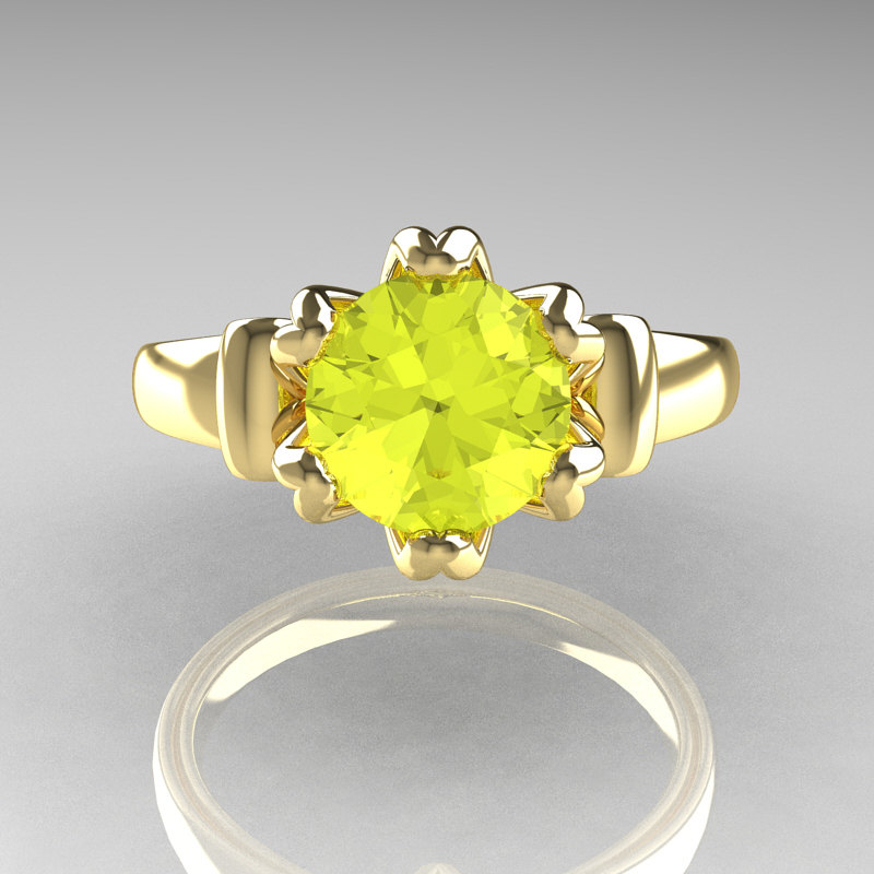 modern antique 14k yellow gold 15 carat yellow topaz