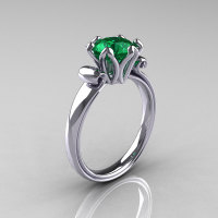 Modern Antique 10K White Gold 1.5 Carat Emerald Solitaire Engagement Ring AR127-10WGEM-1