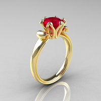 Modern Antique 18K Yellow Gold 1.5 Carat Ruby Solitaire Engagement Ring AR127-18YGR-1