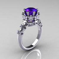 Modern Vintage 10K White Gold 1.5 Carat Tanzanite Diamond Classic Armenian Bridal Ring AR105-10WGDTZ-1
