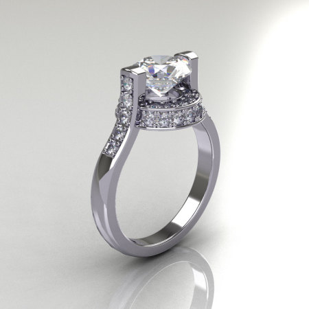 Italian Bridal 950 Platinum 1.5 Carat CZ Diamond Wedding Ring AR119-PLATDCZ-1