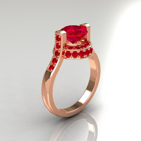 Italian Bridal 14K Pink Gold 1.5 Carat Rubies Wedding Ring AR119-14PGRR-1