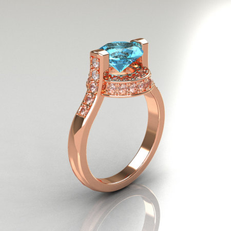 Italian Bridal 14K Pink Gold 1.5 Carat Aquamarine Diamond Wedding Ring AR119-14PGDAQ-1