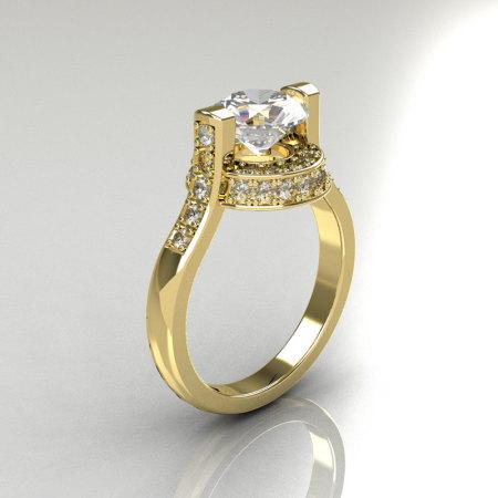 Italian Bridal 10K Yellow Gold 1.5 Carat CZ Diamond Wedding Ring AR119-10YGDCZ-1