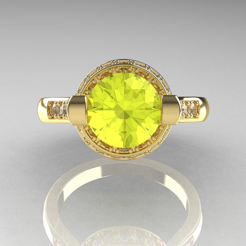 Italian Bridal 14K Yellow Gold 1.5 Carat Yellow Sapphire Diamond ...