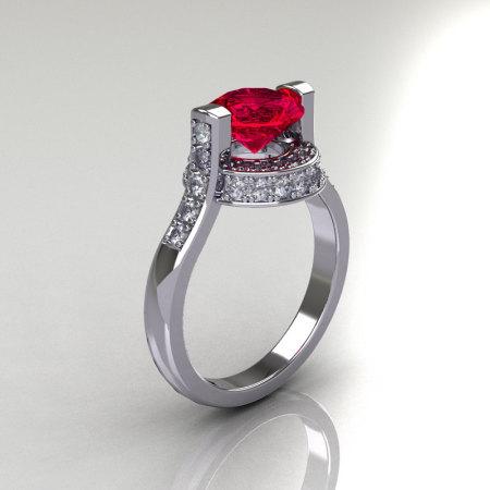Italian Bridal 14K White Gold 1.5 Carat Ruby Diamond Wedding Ring AR119-14WGDR-1