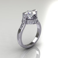 Italian Bridal 14K White Gold 1.5 Carat Cubic Zirconia Diamond Wedding Ring AR119-14WGDCZ-1