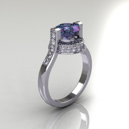 Italian Bridal 18K White Gold 1.5 Carat Round Alexandrite Diamond Wedding Ring AR119-18WGDAL-1