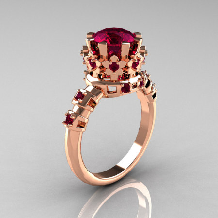 Modern Vintage 10K Pink Gold 1.5 Carat Rhodolite Garnet Classic Armenian Wedding Ring AR105-10PGRGG-1