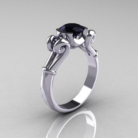 Modern Antique 14k White Gold 1.0 Carat Round Black Diamond Designer Solitaire Ring R122-14KWGBD-1