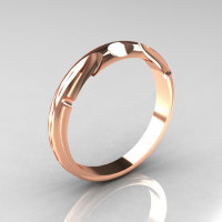Modern Antique 14K Pink Gold Designer Solitaire Flush Matching Band for R122-14PGAQ-1