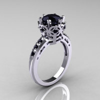 Modern Classic 10K White Gold 1.5 Carat Black Diamond Crown Engagement Ring AR128-14KWGBDD-1