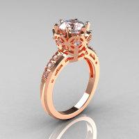 Modern Classic 10K Pink Gold 1.5 Carat CZ Diamond Crown Engagement Ring AR128-10KPGCZD-1