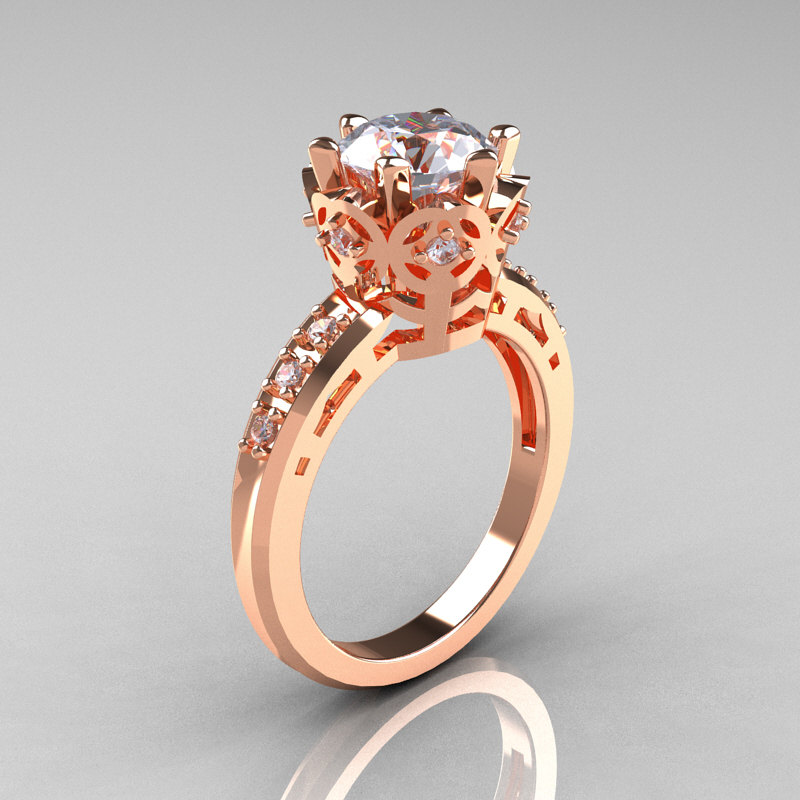 Modern Clic 10k Pink Gold 1 5 Carat Cz Diamond Crown Engagement Ring Ar128 10kpgczd