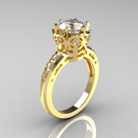 Modern Classic 14K Yellow Gold 1.5 Carat CZ Diamond Crown Engagement Ring AR128-14YGDCZ-1