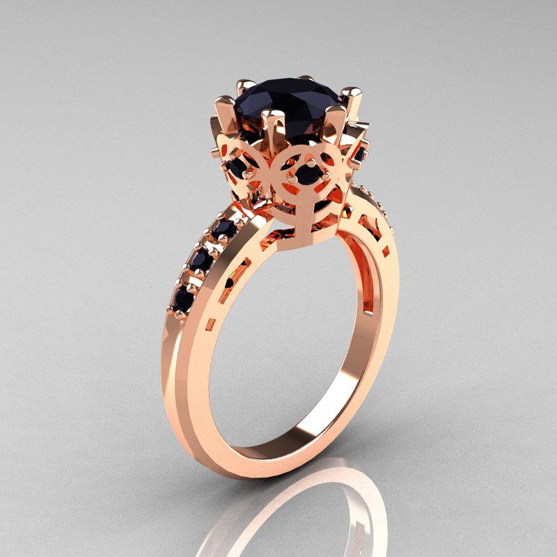 Modern Classic 10K Pink Gold 15 Carat Black Diamond Crown