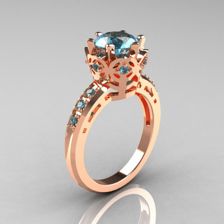 Modern Classic 18K Rose Gold 1.5 Carat Aquamarine Crown Engagement Ring AR128-18RGAQQ-1