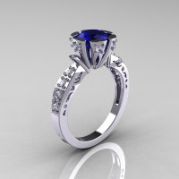 Modern Antique 14K White Gold 1.0 Carat Blue Sapphire Diamond Engagement Ring AR129-14WGDBS-1