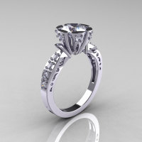 Modern Antique 14K White Gold 1.0 Carat Cubic Zirconia Diamond Engagement Ring AR129-14WGDCZ-1
