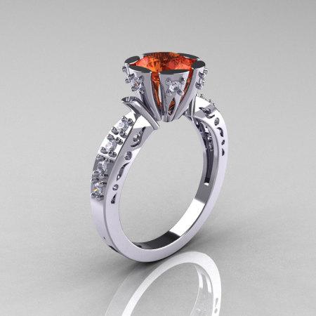 Modern Antique 10K White Gold 1.0 Carat Tangerine Garnet Diamond Engagement Ring AR129-10WGDTG-1