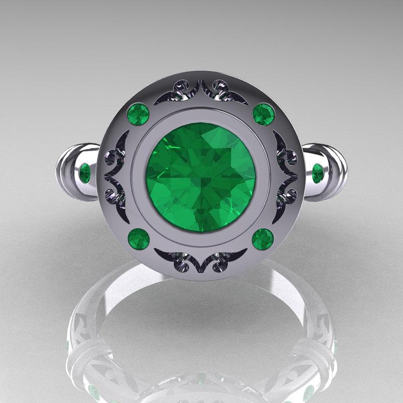 Modern Antique 10k White Gold 1 0 Carat Round Emerald