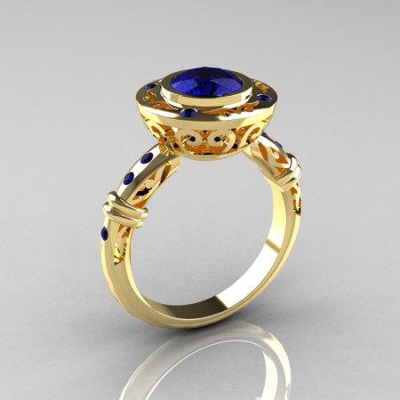 Modern Antique 10K Yellow Gold 1.0 Carat Blue Sapphire Designer Engagement Ring RR131-10KYGBSS-1