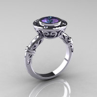 Modern Antique 10K White Gold 2.0 Carat Chrysoberyl Alexandrite Diamond Designer Engagement Ring RR131-10KWGD2AL-1