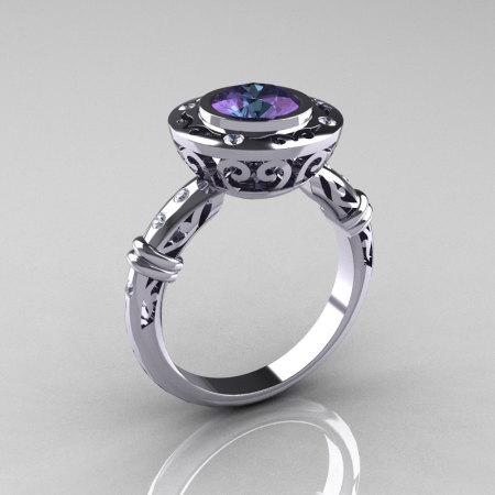 Modern Antique 10K White Gold 2.0 Carat Chrysoberyl Alexandrite Diamond Designer Engagement Ring RR131-10KWGD2AL-1