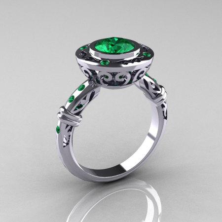 Modern Antique 10K White Gold 1.0 Carat Round Emerald Designer Engagement Ring RR131-10KWGEM-1
