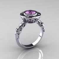 Modern Antique 14K White Gold 1.0 Carat Lilac Amethyst Diamond Designer Engagement Ring RR131-14KWGDLA-1